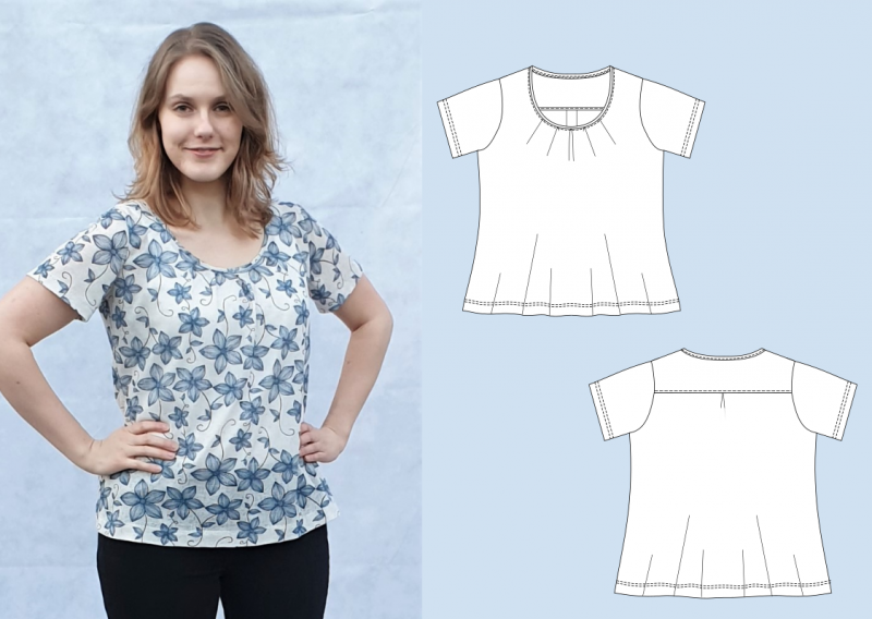 Gloria - lockeres Shirt mit Falten im Ausschnitt - eBook